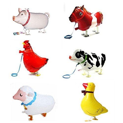 6 Piece Walking Animal Balloons Pet balloons  Animal Balloons Farm Animal Balloon for Animal Theme Birthday Party Decorations