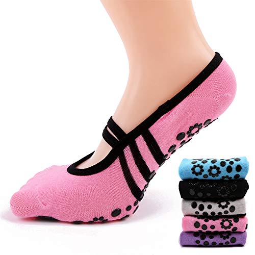 VIWIV Calcetines De Yoga, Calcetines Deportivos De Algodón Antideslizantes para Damas, Adecuados para Pilates Ballet Fitness Jugar Golf Dance Calcetines,Rosado