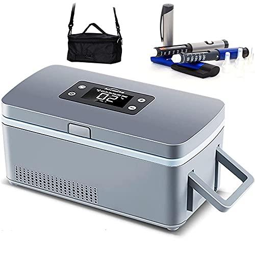 LIMEID Tragbare Insulin Kühlbox für Medikamente Mini Intelligente Elektrische Mini Kühlschrank 230 * 110 * 110 mm Kühltasche Thermostat USB für Reise & Haushalt,2*Battery