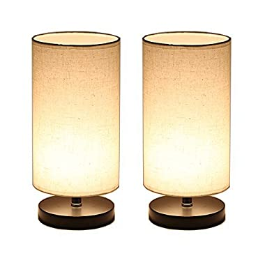 DEEPLITE Wood Table Lamp with Fabric Shade, LED Bulb Bedside Desk Lamp, set of 2 (Round)
