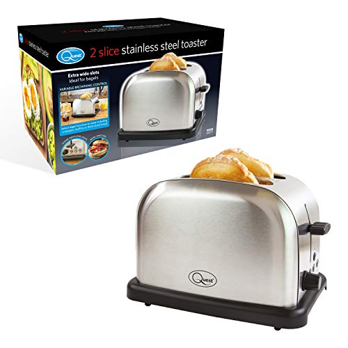 Quest 34629 2-Slice Toaster 6 Browning Settings Defrost and Bagel Function, Stainless Steel and Black