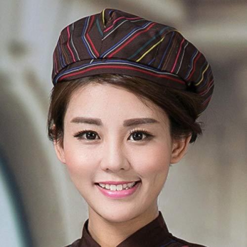 Baskenmützenfranzösische mütze damenMaler KappeKünstler-KappeBeret Fashion Wild Forward Cap-Eine Größe_Kaffeemütze Farbstreifen