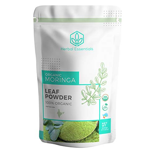 Organic Moringa Oleifera Leaf Powder : USDA Certified and 100% Raw from India, 1.1 lbs (500 g)