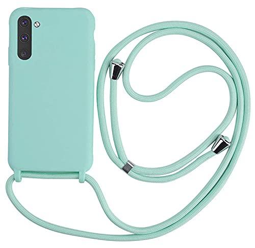 MEIVS Funda Compatible con Samsung Galaxy Note 10, Ajustable Collar Correa de Cuello CordónCarcasa de Silicona-Verde Claro