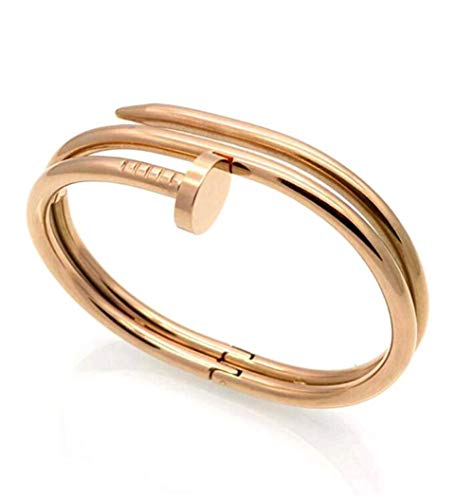 YANGYA Armbänder für Frauen Doppelring Nagel Armband Titan Stahl Stahl Schrauben Trend Mode Armband Double Design Geschenke für Mädchen-Rosegold