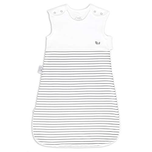 Baby Schlafsack 2.5 Tog 6-18 Monate Weiß & Grau Unisex für Mädchen und Jungen, Doppelreißverschluss & Weiche Atmungsaktive Bio-Baumwolle