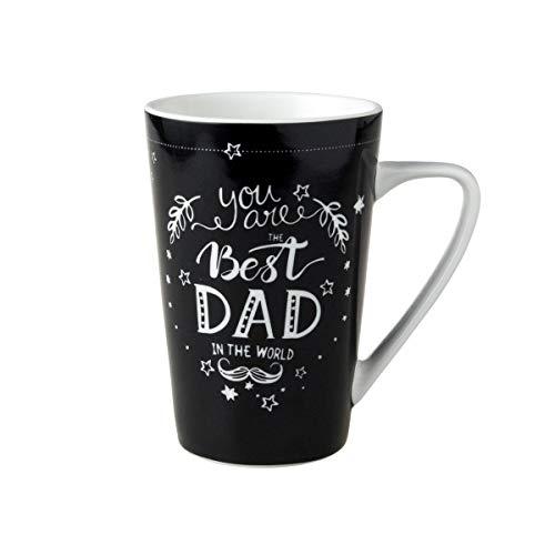 Jumbotasse Becher XXL Sprüchetasse 400 ml aus Porzellan Trinkbecher Smoothie Becher Geschenk Büro Tasse für Kaffee Teetasse Cappuccino Kaffeebecher Jumbo-Tasse Riesentasse (Best Dad)