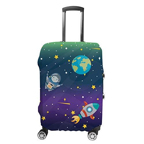 CHEHONG Valigia Copertura Bagagli Astronaut Planets Stars Rocket Trolley da Viaggio Valigia Protettiva Lavabile Fibra di Poliestere Elastico Antipolvere