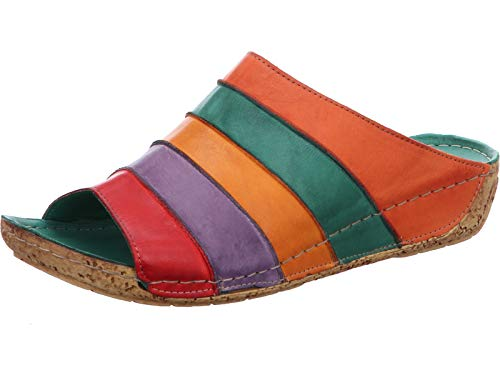 Gemini Damen Pantoletten Clogs Leder 032084-02, Größe:40 EU, Farbe:Orange