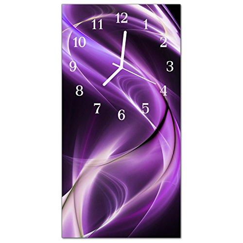 DekoGlas Glasuhr 'Wellen Lila' Uhr aus Acrylglas, eckig große Motiv Wanduhr 30x60 cm, lautlos für Wohnzimmer & Küche