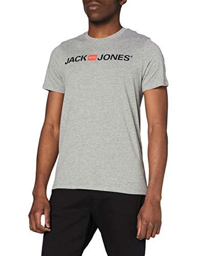 Jack & Jones Jjecorp Logo tee SS Crew Neck Noos Camiseta, Gris (Light Grey Melange Detail: Slim Fit - Melange), Large para Hombre