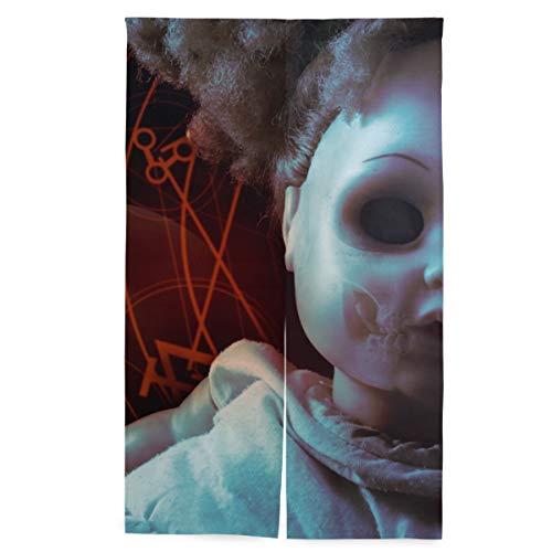 ELIENONO Doorway Japanischer Vorhang,Besessene dämonische Puppen-Grausigkeits-rote Pentacles,Wandteppich mit Trennwandsystem, 56.3