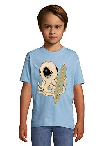 Cute Alien Eyed Surfer Octopus Graphic Heaven Kids Colorful T-Shirt 2 Year Old (86/94cm)
