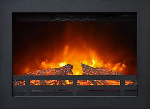 Camino Elettrico da Incasso Effetto Fiamma 1800W Ruby Fires Flandria Nero