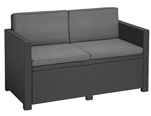 Allibert Victoria Sofa, 2-Seater Lounge, Graphite/Cool Grey (Poly Cotton Cushion), 129 x 63 x 77 cm