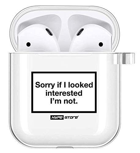 HYPExSTORE® Apple AIRPODS 1 & 2 kompatibel CASE Sorry if I Looked Interested I'm not ANHÄNGER Cover SCHUTZHÜLLE am Transparent Clear Crystal