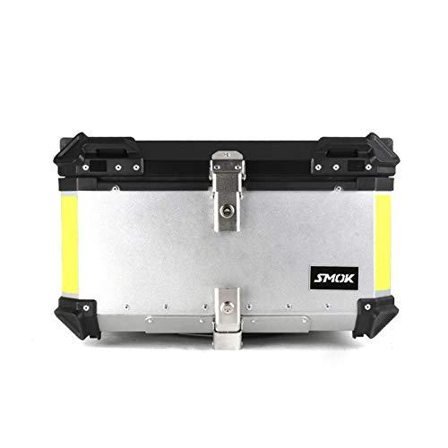 Baúl De La Motocicleta Caja de Almacenamiento de Equipaje Trasero Superior para Motocicleta de 65L Caja Impermeable para Casco Maletero de Herramientas de Aluminio (Color : Plata)