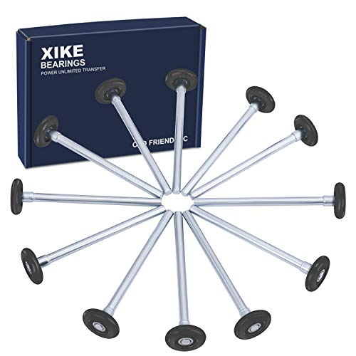XiKe 12 Pack Black 2' Nylon Garage Door Roller 7' Stem, Quiet/Durable and High Load, Use 6200-2RS Double Seals Precision Bearings.