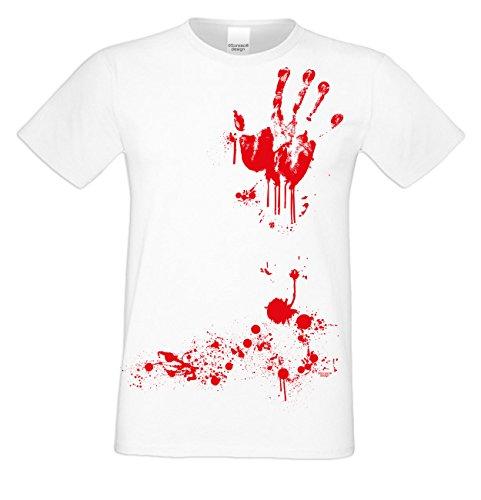 Halloween T-Shirt - Blutiger Handabdruck Shirt weiß - gruseliges Motiv Shirt für Leute mit Humor