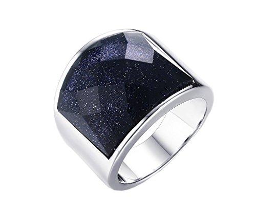 HIJONES Hombres Acero Inoxidable 19MM Cielo Azul Corte de Diamante Piedra Preciosa Anillo 22