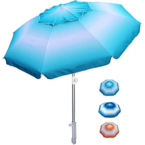 AMMSUN 6.5 ft Beach Umbrella with Sand Anchor, Portable Beach Umbrella for Sand Heavy Duty Wind, UV 50+ Sun Protection Umbrella for Beach Patio Garden Outdoor, Carry Bag (Blue)