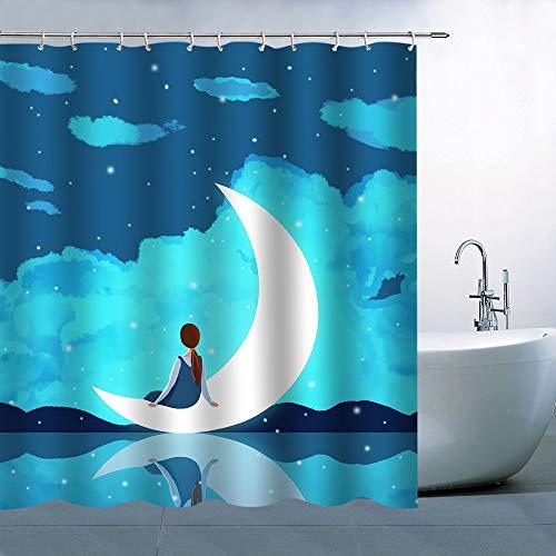 N\A Decoración de Cortina de Ducha de Personaje Azul Cielo Estrellado Junto al Agua niña sentada en la Luna poliéster Impermeable