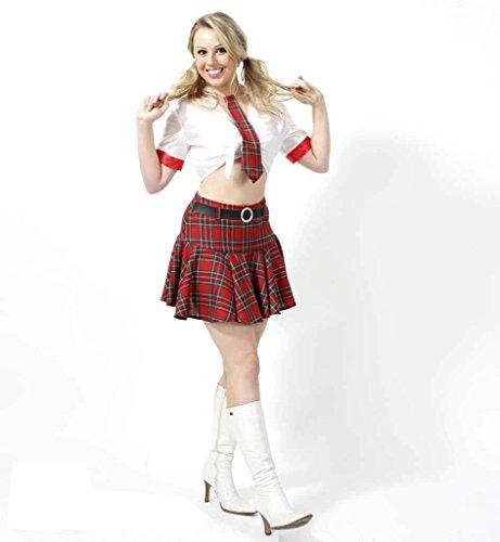 KarnevalsTeufel Damenkostüm Britney, Mini-Rock mit weißer Bluse und Krawatte, Schulmädchen, Showgirl, Tanzkostüm