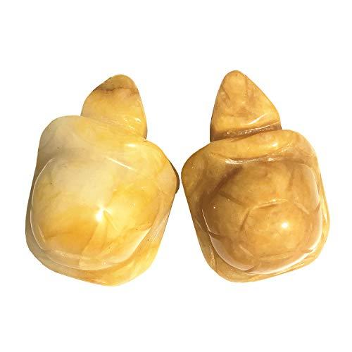 Gemgogo 2 Pcs Natural Topaz Tortoise Decor Stones, 1.5 Inches Animal Figurine Room Decor Crystals and Healing Stones