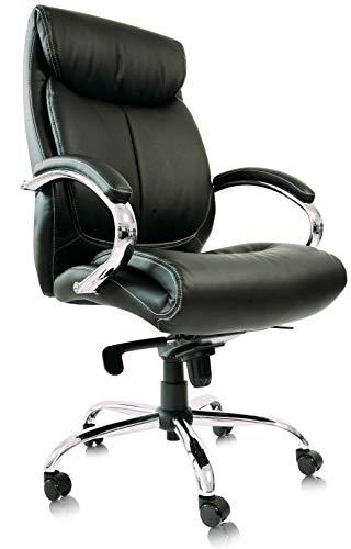Kijng Chefsessel Kings - Schwarz Chrome Echtes Leder - Bürostuhl Schreibtischstuhl Drehstuhl Sessel Stuhl PokerStuhl Casinostuhl Gamerstuhl