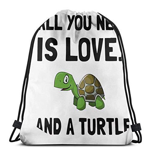 IUBBKI Mochila con cordón con estampado, todo lo que necesitas es amor y tortuga, bolsa de cuerda Mochila Cinch Bolsa de playa de nailon resistente al agua para gimnasio, compras, deporte, yoga, calc