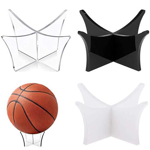 3 Piezas Soporte de Bola de Recuerdo Pedestal de Pelota Soporte de Exhibición de Bolas Soporte de Balón de Fútbol para Baloncesto Fútbol Negro Blanco Transparente