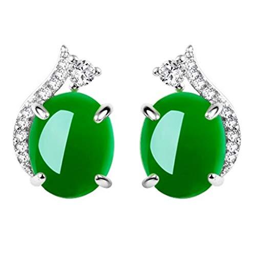 Pendientes ovalados de cristal de diamantes de imitación verde, pendientes de botón de metal vintage