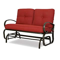 The simple and natural style is ideal for any garden, patio or outdoors. Curved arms and back and seat cushions provide more comfort. Made of durable wrought dark brown powder-coated steel frame. Cushions available with 100% Olefin fabric. Overall si...