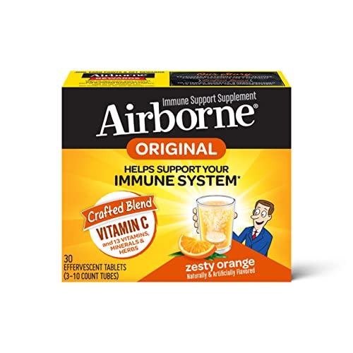 Airborne 1000mg Vitamin C with Zinc Effervescent Tablets, Immune Support Supplement with Powerful Antioxidants Vitamins A C & E - (30 count box), Zesty Orange Flavor, Fizzy Drink Tablets, Gluten-Free