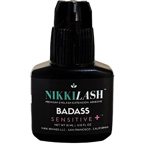 NIKKILASH BADASS SENSITIVE+ Eyelash Extension Glue   Latex-free For Extreme Sensitive Allergy Clients - Formulated to Increase Durability and Flexibility - Non-irritating Fume-free and Odorless - 10ML