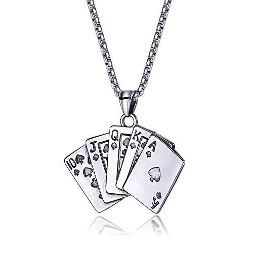 Collar Colgante Joyería Personalidad Titanium Steel Poker Spades Flush Straight Colgante Hombres Titanium Steel Necklace-Silver_55Cm