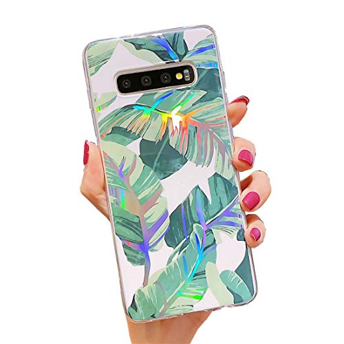 Samsung Galaxy S10 Case,Duolaa Samsung S10 Protective Cover Phone Case for Women Girls Glitter Bling Slim Fit Shockproof Soft Silicone Rubber Clear TPU Bumper Case for Samsung Galaxy S10-Banana Leaf