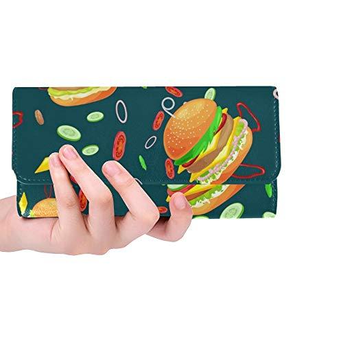 Hamburguesa Sabrosa Personalizada única Carne de Res a la Parrilla Cartera Triple Monedero Largo Portatarjetas de crédito Estuche Bolso