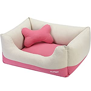 Blueberry Pet Heavy Duty Cotton Linen Blended Canvas Overstuffed Cuddler Bolster Lounge Dog Bed, Removable & Washable Cover w/YKK Zippers, 34″ x 24″ x 12″, 11 Lbs, Baby Pink & Beige Color-Block