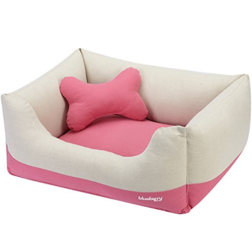 Blueberry Pet Heavy Duty Cotton Linen Blended Canvas Overstuffed Cuddler Bolster Lounge Dog Bed, Removable & Washable Cover w/YKK Zippers, 34' x 24' x 12', 11 Lbs, Baby Pink & Beige Color-Block