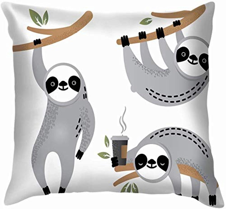 味半円巨大なかわいいナマケグマ動物シンプルな動物野生動物休日スロー枕カバーホームソファクッションカバー枕ギフト45×45センチ