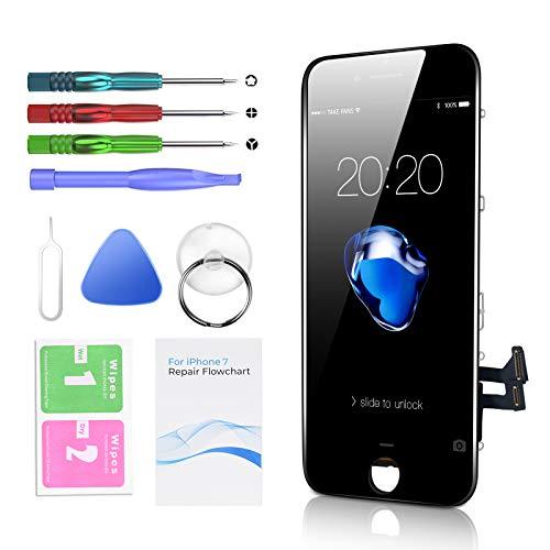 Htechy Kompatible mit iPhone 7 Display Schwarz Ersatz Set LCD Touchscreen mit Reparaturanleitung und Komplettes Kostenlose Werkzeug
