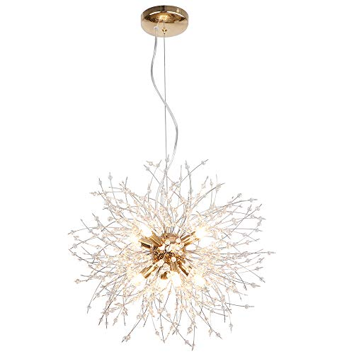 lampadario camera da letto oro LynPon moderno lampadario in oro cristallo sputnik plafoniera fuochi d'artificio lampada a sospensione apparecchio per sala da pranzo camera da letto (8 luci