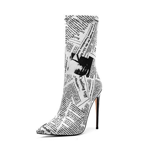Wysokie buty na szpilce, damskie buty na szpilce z okrągłą rurką, krótkie buty z bardzo wysokim obcasem w szpic, cholewka z PU i podszewka z mikrofibry (Color : Newspaper pattern, Size : 37 EU)
