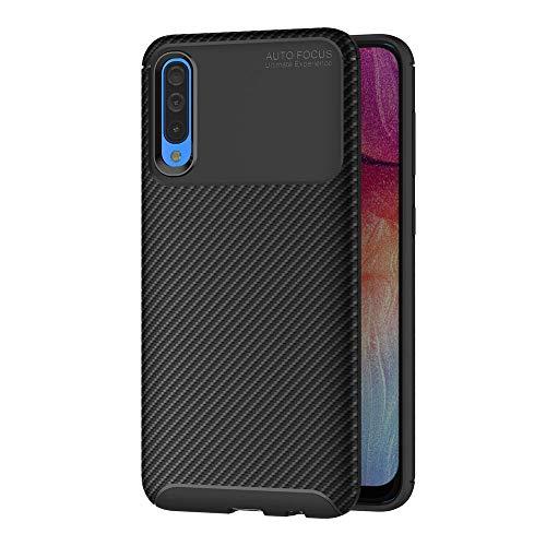AICEK Cover Samsung Galaxy A50, Nero Custodia Samsung A50 Silicone Molle Black Cover per Galaxy A50 Soft TPU Case (6.4 Pollici)