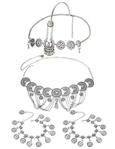 ORAZIO Head Waist Anklet Chains for Women Boho Vintage Hollow Carving Hair Belt Chain Coin Foot Body Chain Jewelry Set