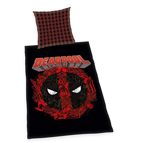 Herding Marvel Deadpool - Juego de Cama (algodón, 70 x 90 cm, 140 x 200 cm), diseño de Deadpool, Color Negro y Rojo