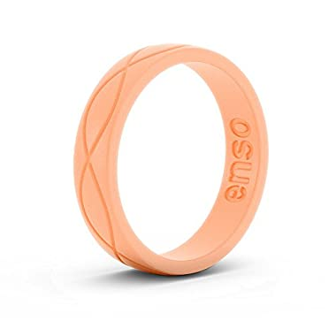 Enso Womens Infinity Silicone Ring Peach. Size: 4