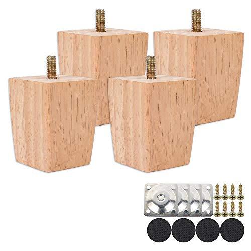 Möbelfüße Eiche Holz trapez Tischbeine 4 Stück Möbelbeine Ersatz Möbelfüße Holz Schräg mit Montageplatten & Schrauben für Sofa Bett Schrank Couch Stuhl (Höhe 10cm)