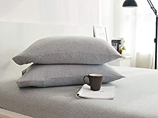 """Household 100% Jersey Cotton Queen Size Pillowcase 20""""x30""""-Light Weight, Comfortable, Extremely Durable Set of 2 (Grey)"""